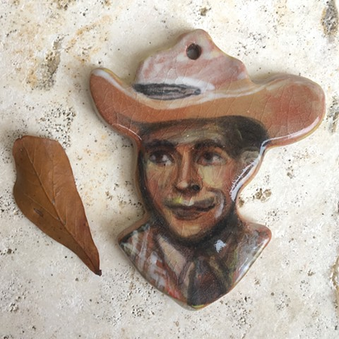 hand made, hand painted ceramic Hank Williams Sr. wall hanging/ornament