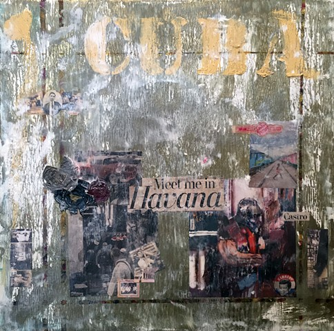 Oil, Encaustic, Ephemera, and Wine Foils on Canvas