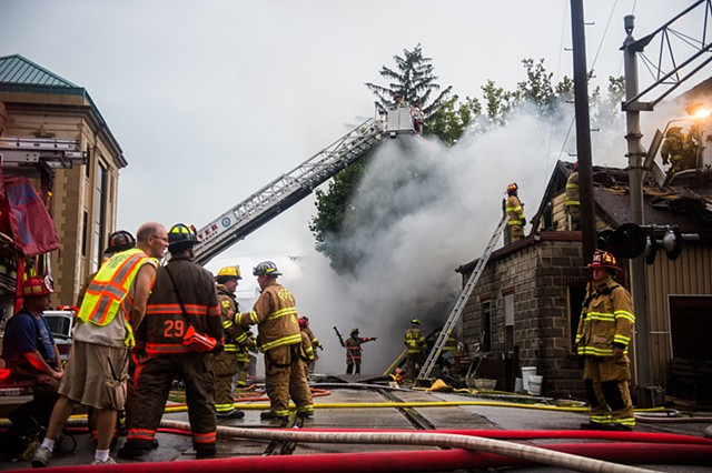 Firefighters battle a structure fire in Hanover, York County, Pennsylvania