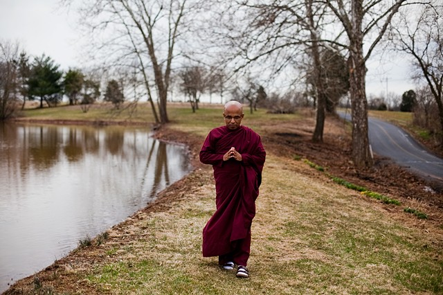 Bhante Sujatha, a resident monk from the Blue Lotus Temple in Illinois, often visits Pennsylvania and stays at Bodhi House. (click to read caption)