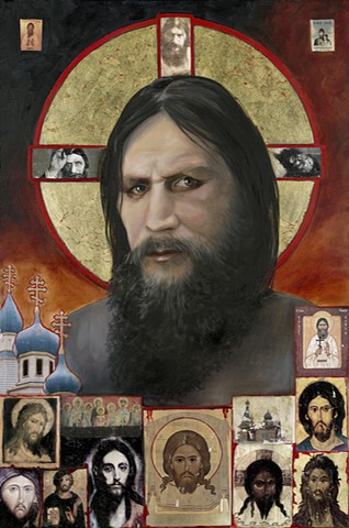 Rasputin, metallic leaf and oil, icon, Russian icon