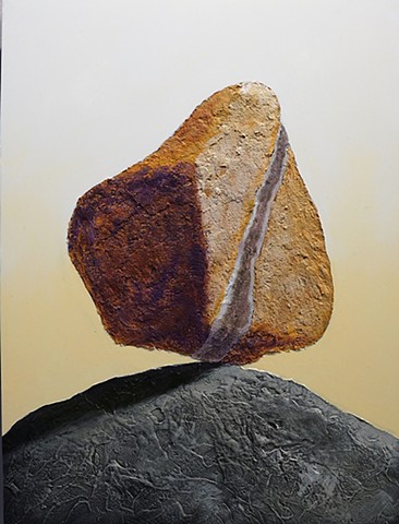 cairn, acrylic painting, textural painting, molding paste, rocks, stones, Susan Makara