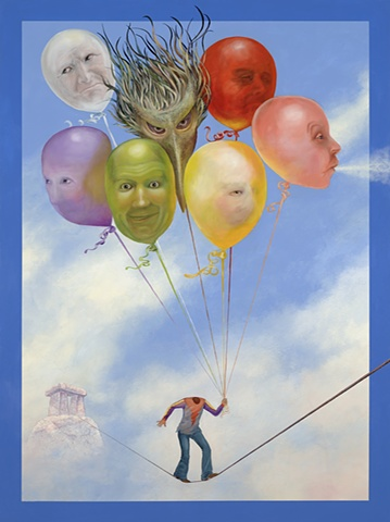 headless man with balloons, tight wire, slack wire