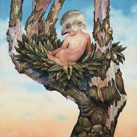 little boy wearing mask, nest in tree, tree looks like hand