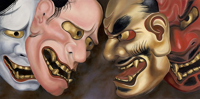 noh masks, politics, angry masks, hanna
