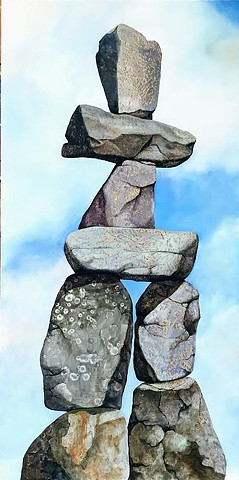 Canadian cairn, cairn, rocks, metal leaf, painting