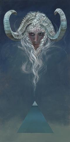 horned spirit, pyramid