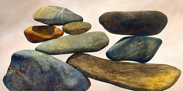 cairn, rocks, acrylic painting, oil painting, metallic leaf