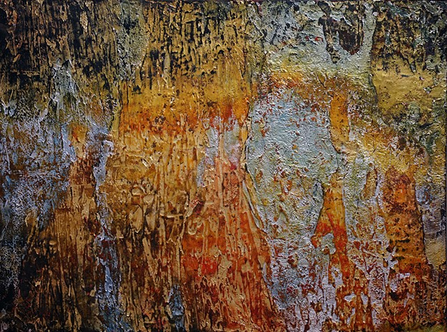 acrylic painting, highly textured, metallic leaf, abstract