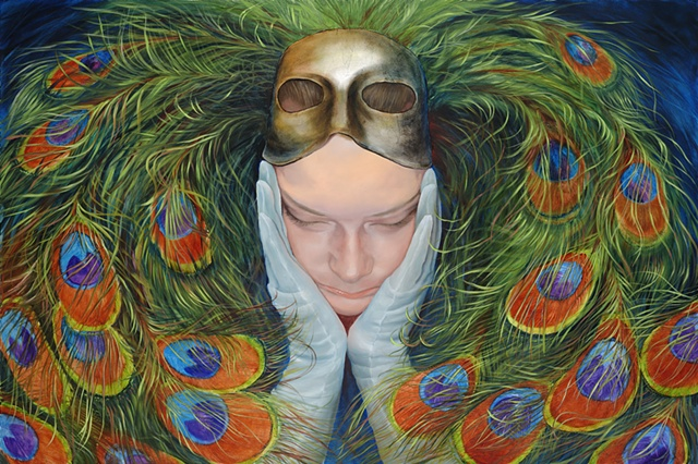 unmasked, a woman wearing a peacock mask