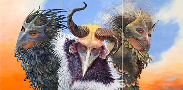 three masks, horned masks, new mexico, santa fe, triptych