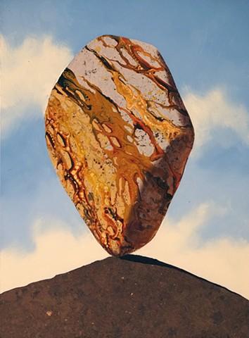 acrylic pour, metallic leaf, gold leaf, guilding, cairn, rocks
