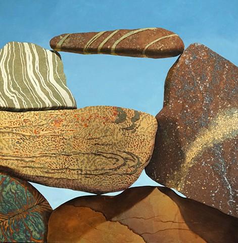 metallic leaf, gold leaf, stones, rock, cairn, makara