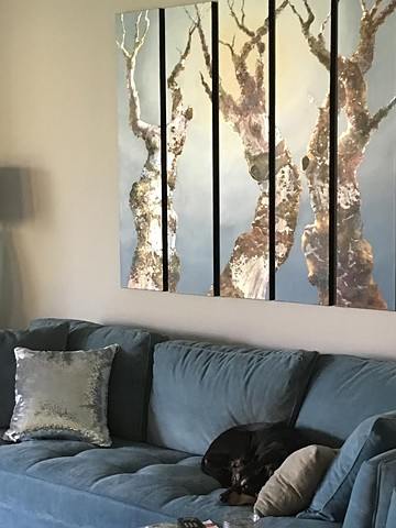 metallic leaf, oil painting, five panels, diptych, triptych, quintych
