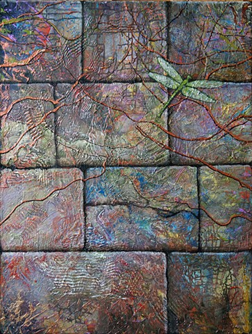 dragonfly, wall, texture, acrylic painting