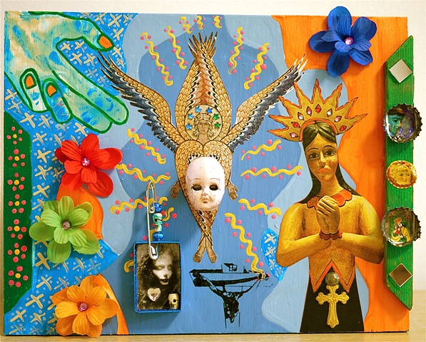 "jenniferbeinhacker.com  assemblage  shrines totems ""day of the dead"" ""dia de los muertos"" Mexico beads stones jewels jenniferbeinhacker.com  assemblage ""self taught"" ""acrylic painting """"acrylic paint"" ""folk art"" ""mixed media"" ""water color paint"" collage """