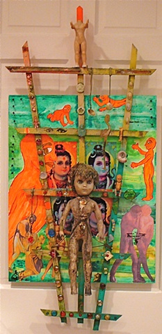"jenniferbeinhacker.com  ""weathered garden trellis"" ""garden art"" ""art in a garden"" garden  India assemblage ""garden trellis"" ""self taught"" ""acrylic painting """"acrylic paint"" ""folk art"" ""mixed media"" ""water color paint"" collage ""box art"" ""art in a box"" wome"