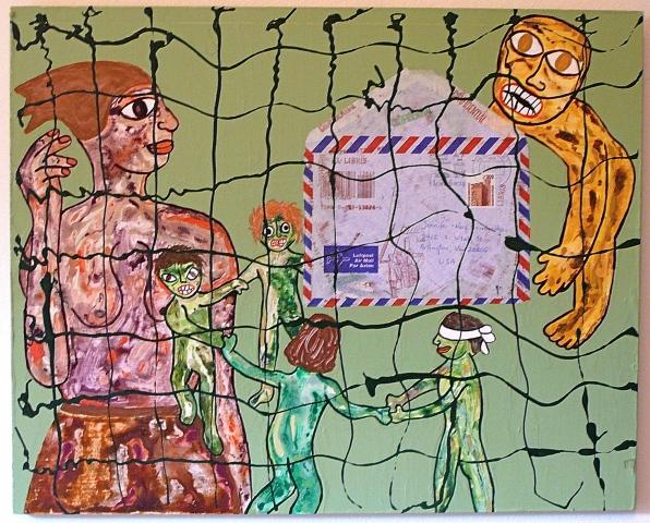 "jenniferbeinhacker.com ""self taught"" ""mail art"" ""acrylic painting"" ""outsider art"" ""visionary art"" ""raw art"" ""art brut"" ""naif art"" ""art on wood"" children ""children's games"" envelope woman girls boys baby ""folk art"" ""mixed media"" assemblage collage"