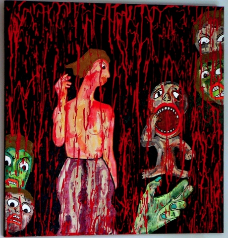 "jenniferbeinhacker.com ""self taught"" ""acrylic painting"" painting blood ""red paint"" ""mythological creatures"" ""visionary art"" ""outsider art"" ""raw art"" ""art on wood"" ""naïf art"" ""primitive art"" ""deviant art"" women men children hands faces ""folk art"" ""mixed me"