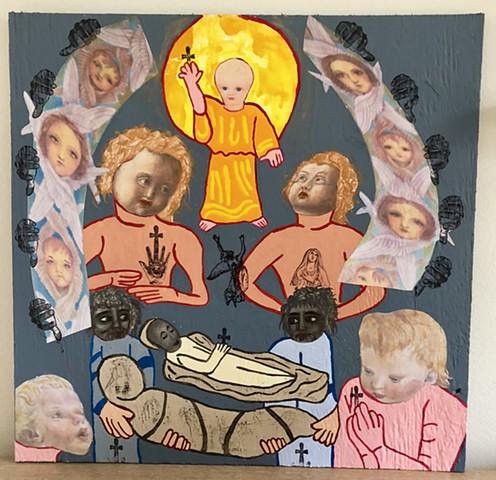 "jenniferbeinhacker.com ""self taught"" ""mixed media"" ""acrylic paint"" collage ""folk art"" ""religious art"" women woman man men children angels stamps ""jesus christ"" ""outsider art"" ""visionary art"" ""raw art"" ""deviant art"" ""primitive art"" ""modern art"" ""contempora"