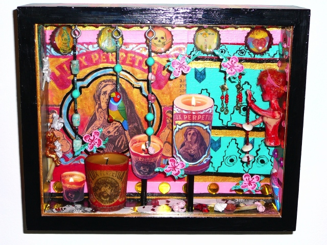 "jenniferbeinhacker.com  assemblage  shrines totems ""day of the dead"" ""dia de los muertos"" Mexico beads stones jewels assemblage ""self taught"" ""acrylic painting """"acrylic paint"" ""folk art"" ""mixed media"" ""water color paint"" collage ""box art"" ""art in a box"""