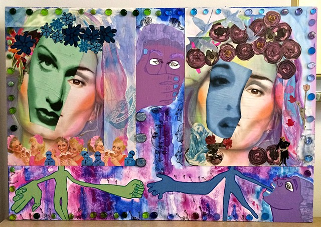 "jenniferbeinhacker.com ""self taught"" ""mixed media"" collage ""watercolor paint"" ""folk art"" mandala ""cheese box"" jewels stamps ""outsider art"" ""visionary art"" ""raw art"" ""art brut"" ""art naif"" ""naive art"" surrealism faces women expressionism blue purple flowers"