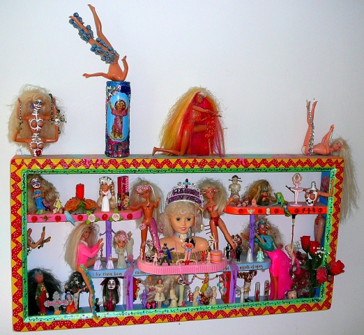 "jenniferbeinhacker.com  ""Barbie doll assemblage"" ""Barbie dolls"" assemblage ""self taught"" candles ""religious figures"" ""jesus Christ"" nuns shells stones bones ""match box art"" ""art in a match box"" ""wonder woman"" ballerina batman beads flowers birds ""religiou"