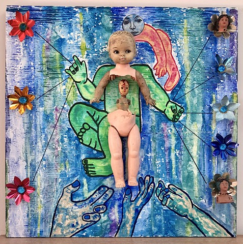 "jenniferbeinhacker.com ""self taught"" ""mixed media"" ""acrylic paint"" ""watercolor paint"" assemblage "" art on wood"" stamps ""metallic paint"" ""sharpie pens"" dolls ""baby doll"" birth ""outsider art"" ""folk art"" ""primitive art"" ""deviant art"" ""modern art"" ""contempora"