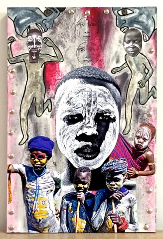 "jenniferbeinhacker.com ""art outside the edge"" ""mixed media"" collage assemblage ""folk art"" ""acrylic painting""ethiopia ""east africa"" ""omo valley"" boy boys children child"