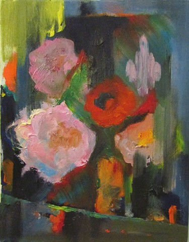 abstract floral still life painting