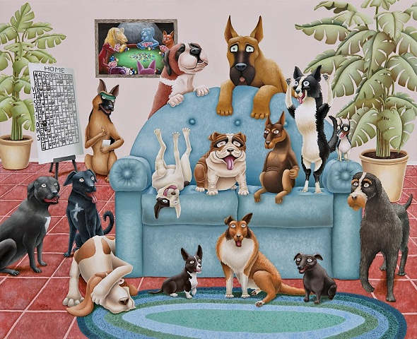 Painting of Dogs gambling watching sports
