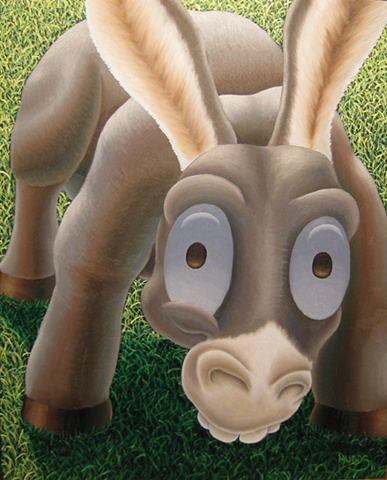 Painting of silly donkey lowering head to look at you