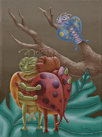 Painting of two bugs in love with rejected bug watching