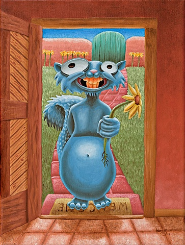 Painting of  Creepy Squirrel with flower at door for a date.