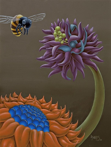Painting of Two bright stylized flowers with happy bee.