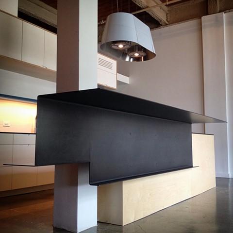 Countertop, steel, cantilever, Durham tobacco loft