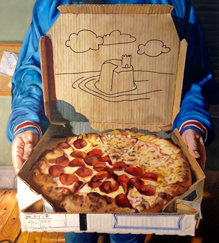 hyperrealism painting photorealist painting of pizza 1990s Alex Sewell