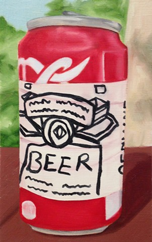 hyperrealistic beer can painting