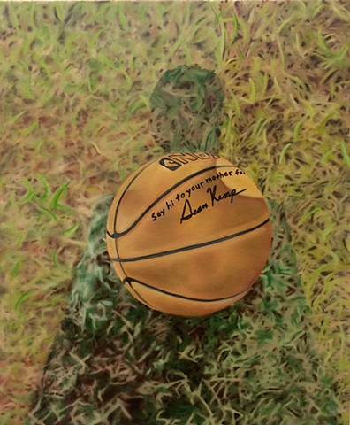 hyperrealistic painting of a basketball