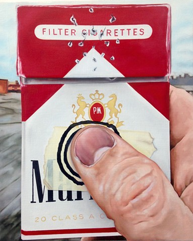 hyperrealistic painting of cigarettes