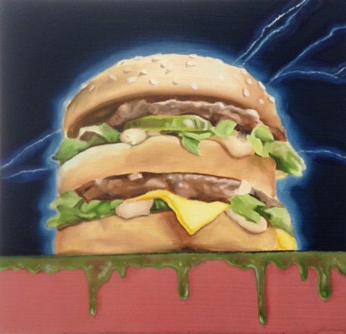 hyperrealistic cheeseburger painting