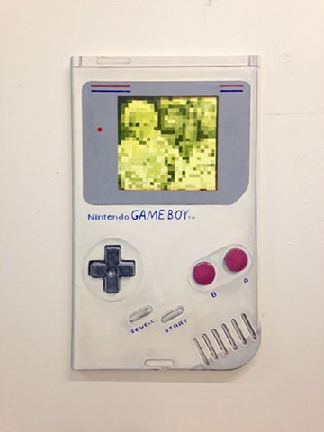 hyperrealistic gameboy painting