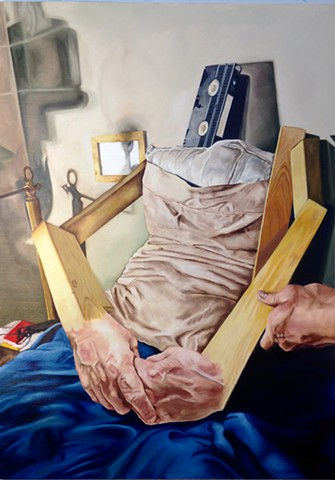 hyperrealist painting 1990s video casette alexsewell photorealism