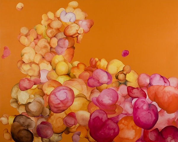 orange background, pink orange blobs