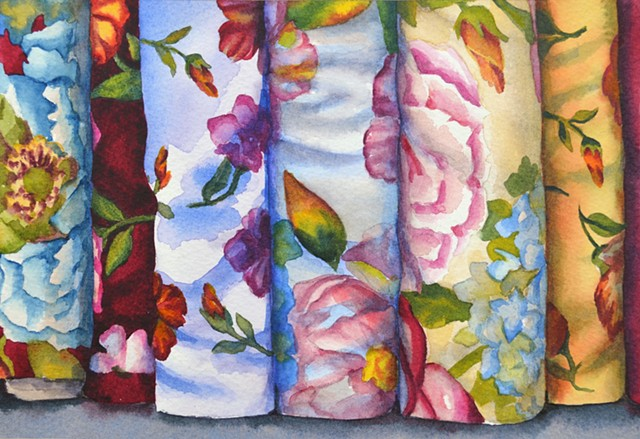 Canadian Watercolour Artist painting fabric