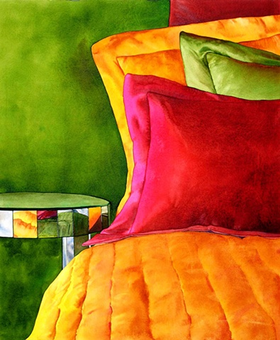 Fabric, colour, watercolour, painting canadian artist watercolor interior design decor