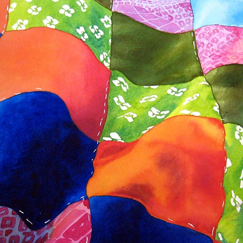 watercolour painting of coloured fabric by brittney lintick