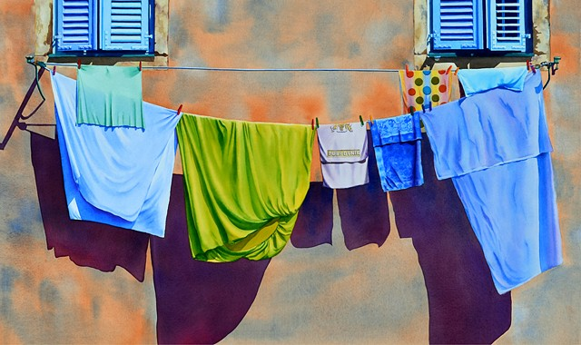 Fabric, colour, watercolour, painting, clothesline