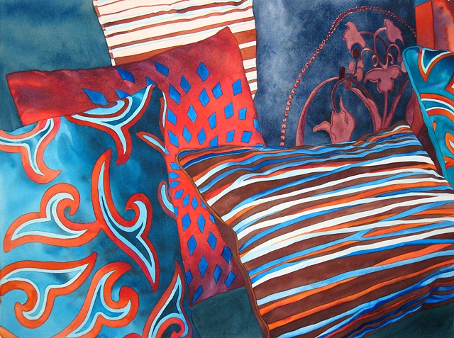 Fabric, colour, watercolour, painting, canadian artist watercolor interior design decor textile