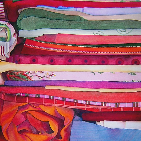 Fabric, colour, watercolour, painting
